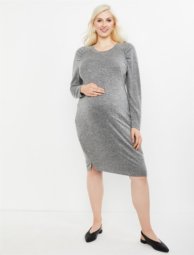 Plus Size Gathered Sleeve Maternity Sweater Dress in Grey Marl