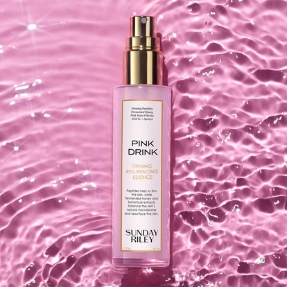 Sunday Riley Pink Drink Firming Resurfacing Essence campaign image.