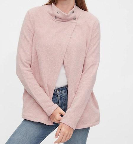 Maternity Nursing Snap Sweatshirt in Potpourri Pink