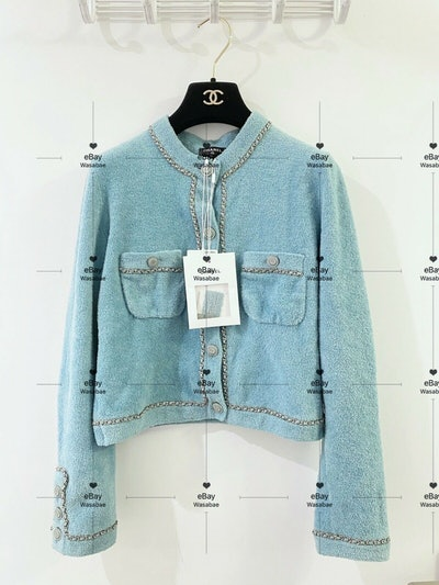 Sky Blue Turquoise Jacket Cardigan Leather Chain 20C Cruise 2020 FR 36
