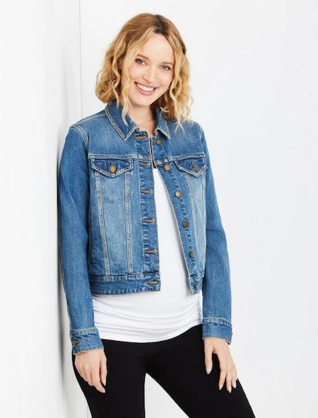 Button Front Plain Weave Denim Maternity Jacket