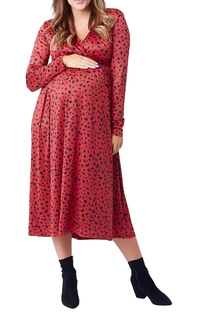 NOM Maternity Augusta Print Long Sleeve Maternity/Nursing Dress in Russet Abstract Dot