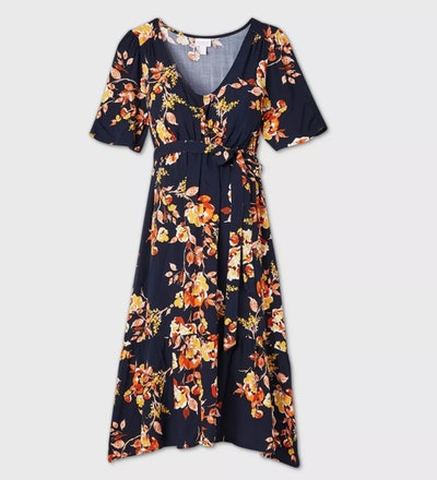 Floral Print Elbow Sleeve Woven Tier Maternity Dress in Navy