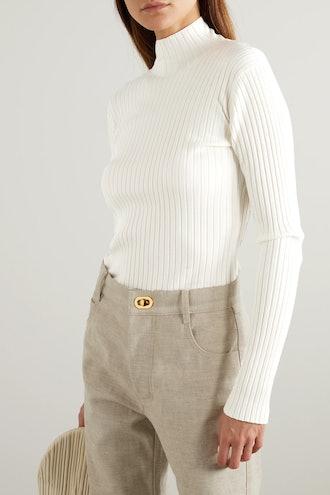 Open-Back Ribbed Merino Wool-Blend Turtleneck Sweater