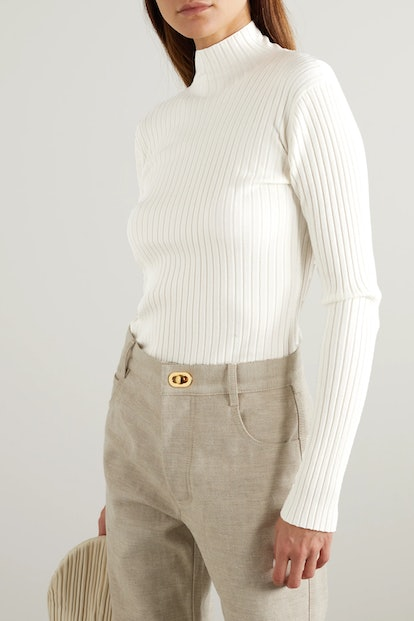 Open-Back Ribbed Merino Wool-Blend Turtleneck Sweater