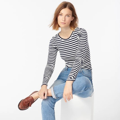J. Crew Slim Perfect Long-Sleeve T-Shirt in Stripes