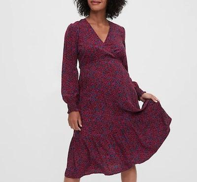 Crossover Midi Dress in Burgundy Floral