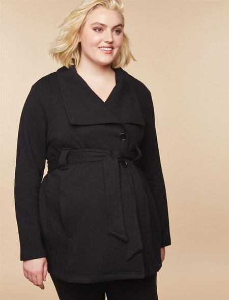 Plus Size Removable Waist Tie French Terry Maternity Peacoat