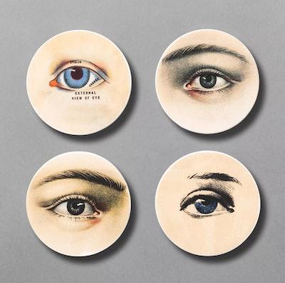 4pc Mysterious Gaze Ceramic Eyes Coaster Set