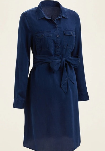 Maternity Chambray Utility Tie-Belt Shirt Dress
