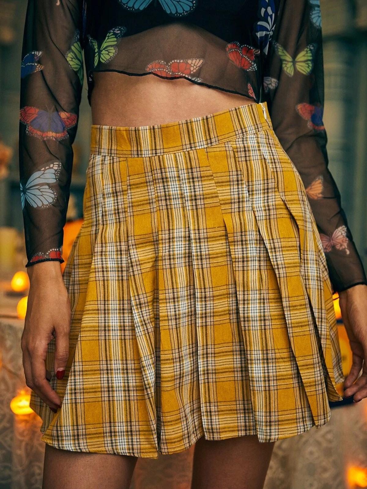Romwe Halloween Tartan Pleated Skirt