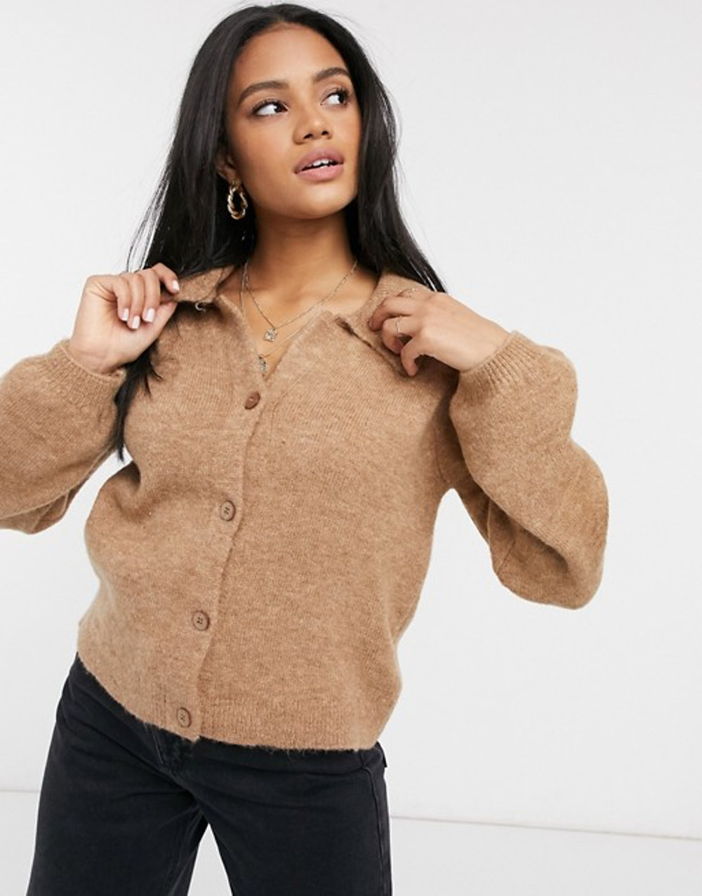 Fluffy Collared Sweater with Placket Detail
