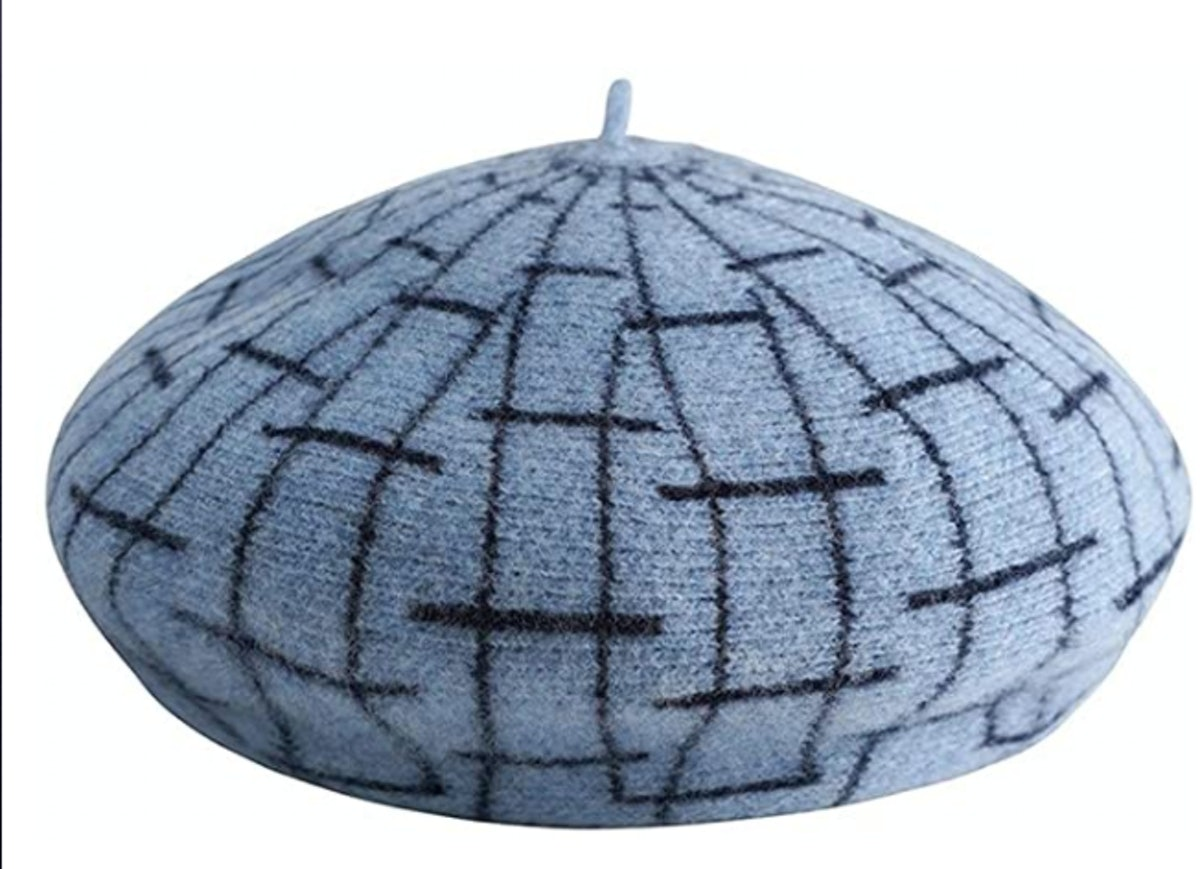 ZWJ-berets Berets Ladies Painter Hat Checkered Beret Spring and Autumn Winter Warm Hat Retro Fashion...