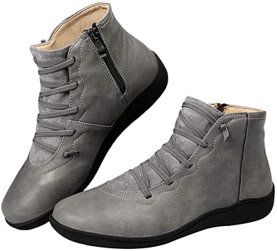 Harence Side Zipper Leather Ankle Boots