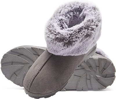 Jessica Simpson Tipped Faux Fur Microsuede Boot Slippers