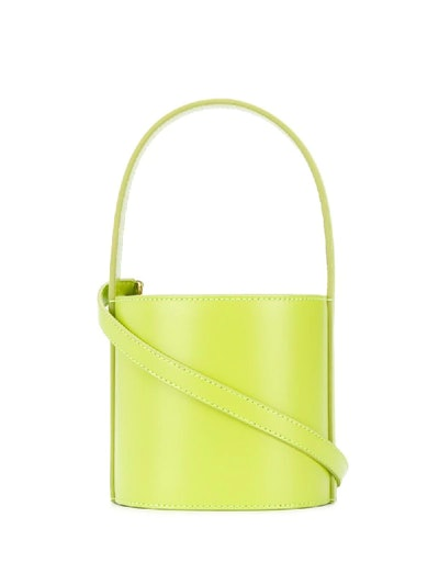 Mini Bissett Leather Bucket Bag In Green