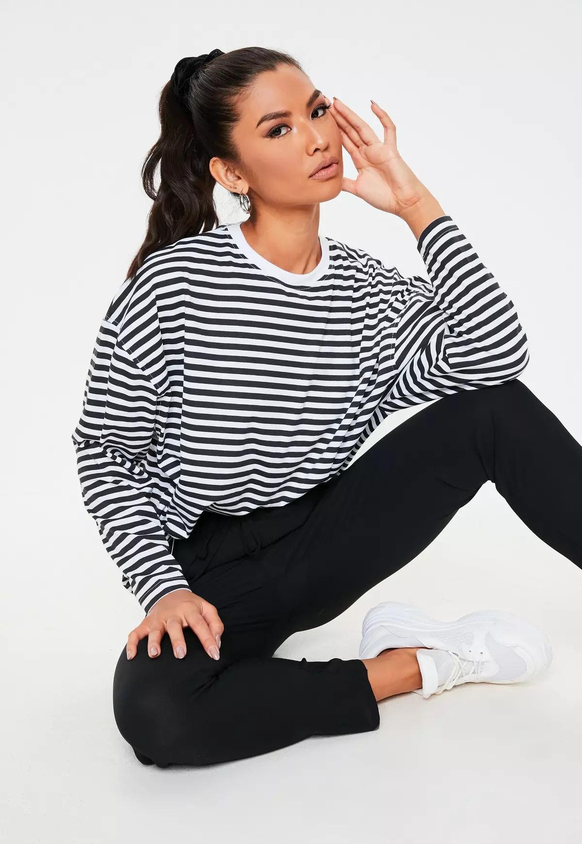 Missguided Black Stripe Drop Shoulder T-Shirt