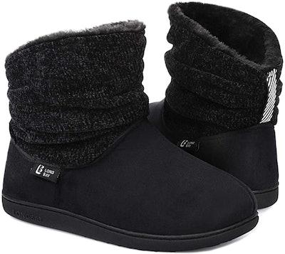 LongBay Women's Warm Chenille Knit Bootie Slippers
