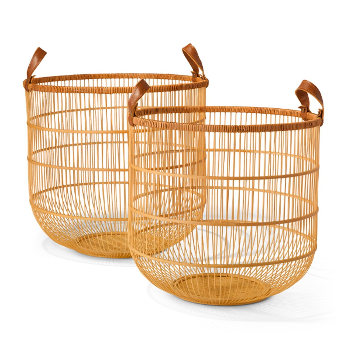 Bamboo Basket with Faux Leather Handle