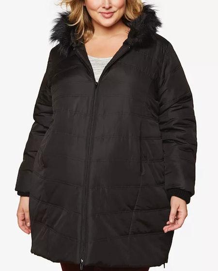 Plus Size Faux Fur Hooded Coat