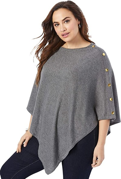 Jessica London Cotton Cashmere Poncho Sweater