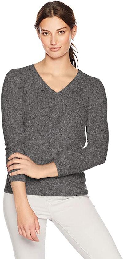 Lark & Ro V-Neck Pullover Cashmere Sweater