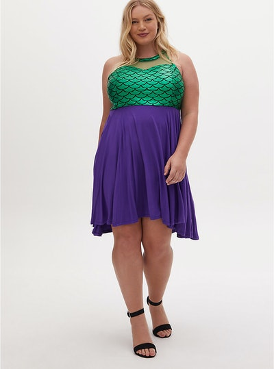 Torrid Disney The Little Mermaid Green & Purple Hi-Lo Skater Dress