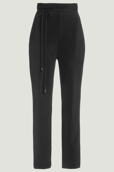 Black Stretch Viscose Cropped Pant with Tie