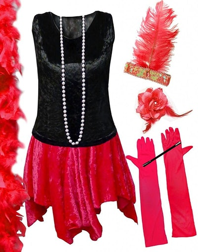 Sanctuarie Plus Size Red Flapper Supersize Halloween Deluxe Kit