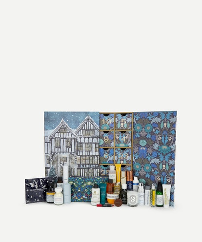 The inside of Liberty's Beauty Advent Calendar 2020, which includes diptyque, Le Labo, NARS, and so ...
