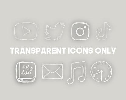Transparent Aesthetic iPhone App Icons