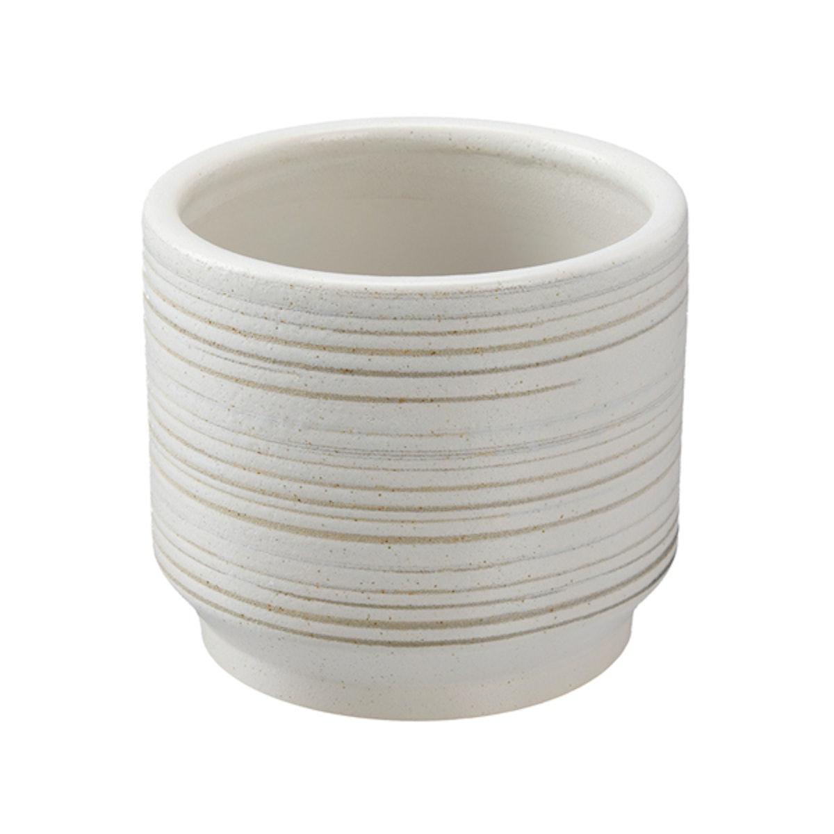 "6"" Teramo Round Ceramic Planter, White"