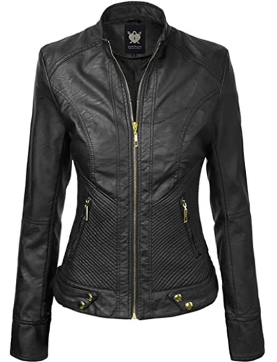 Lock And Love Faux Leather Jacket