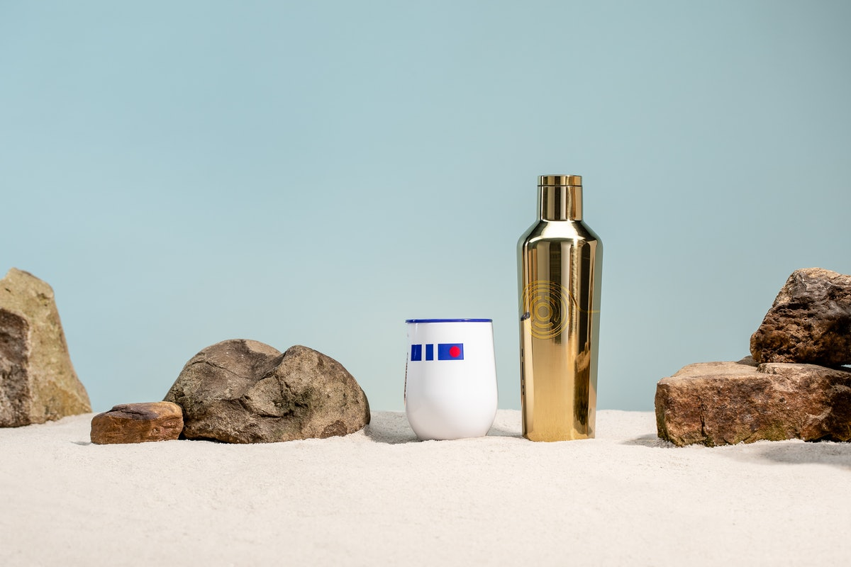 'Star Wars' Corkcicle tumblers sit on some sand.