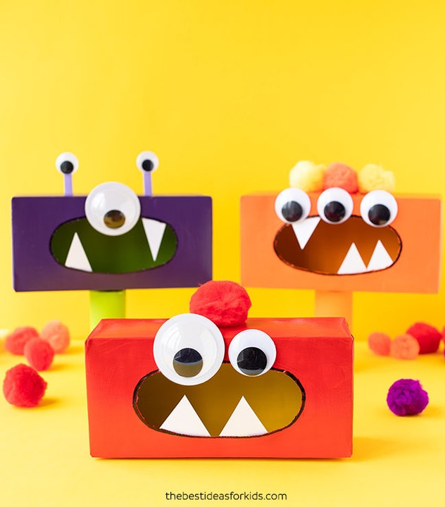 Turn tissue boxes into little monsters with some crafts.