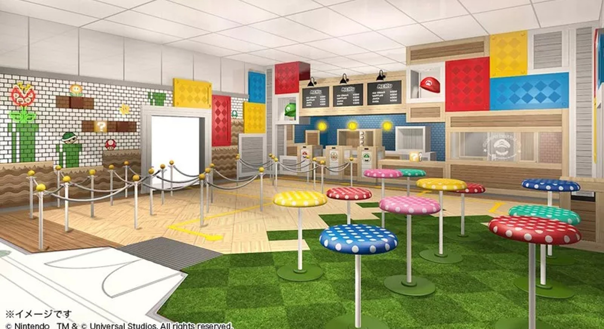 A render of a cafe in Super Nintendo World which is set to open in Spring 2021.