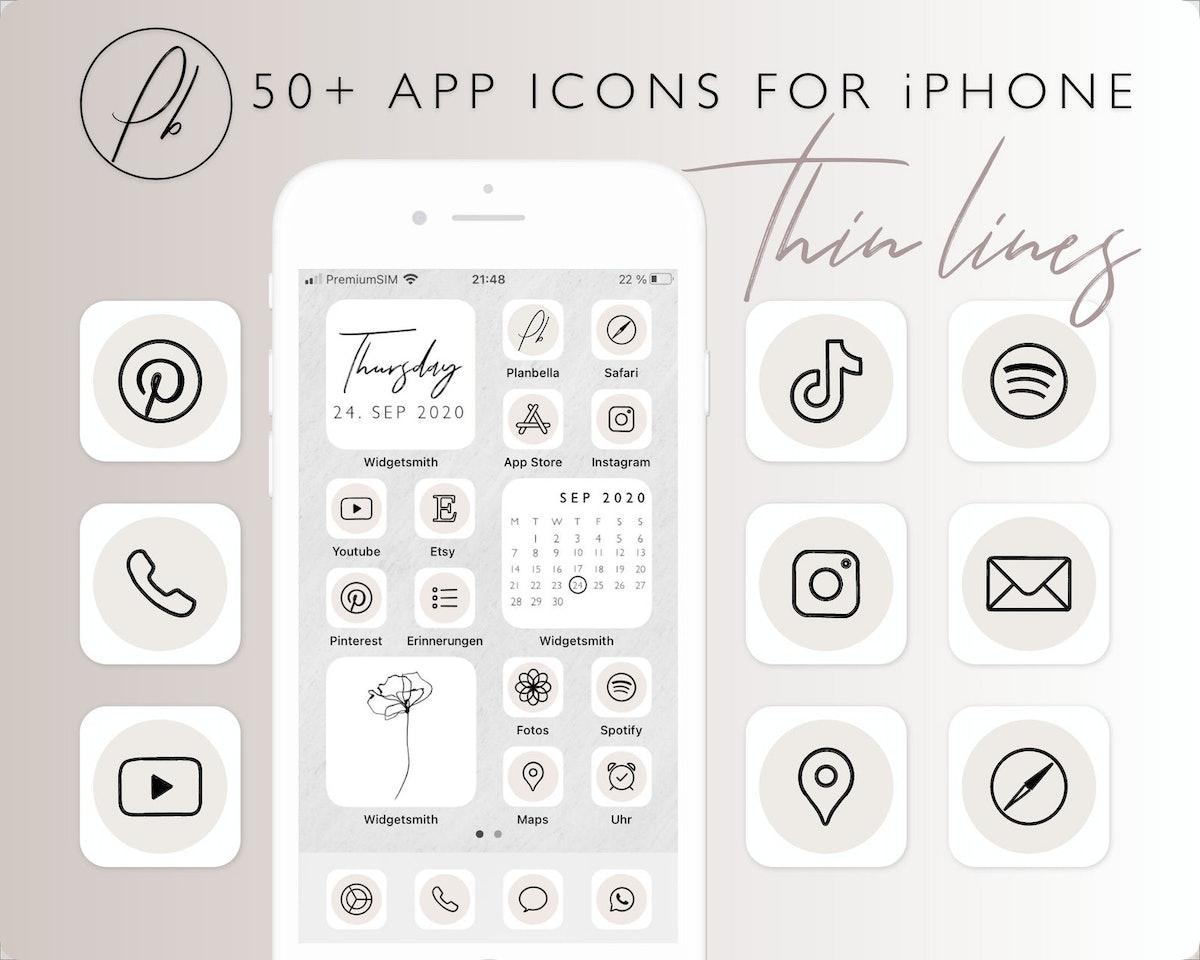 Minimalist App Icons for iPhone iOS14