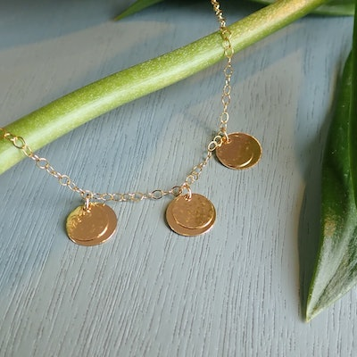 Gold Three Layered Disc Necklace