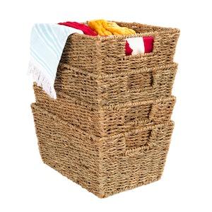 Stackable Seagrass Storage Baskets