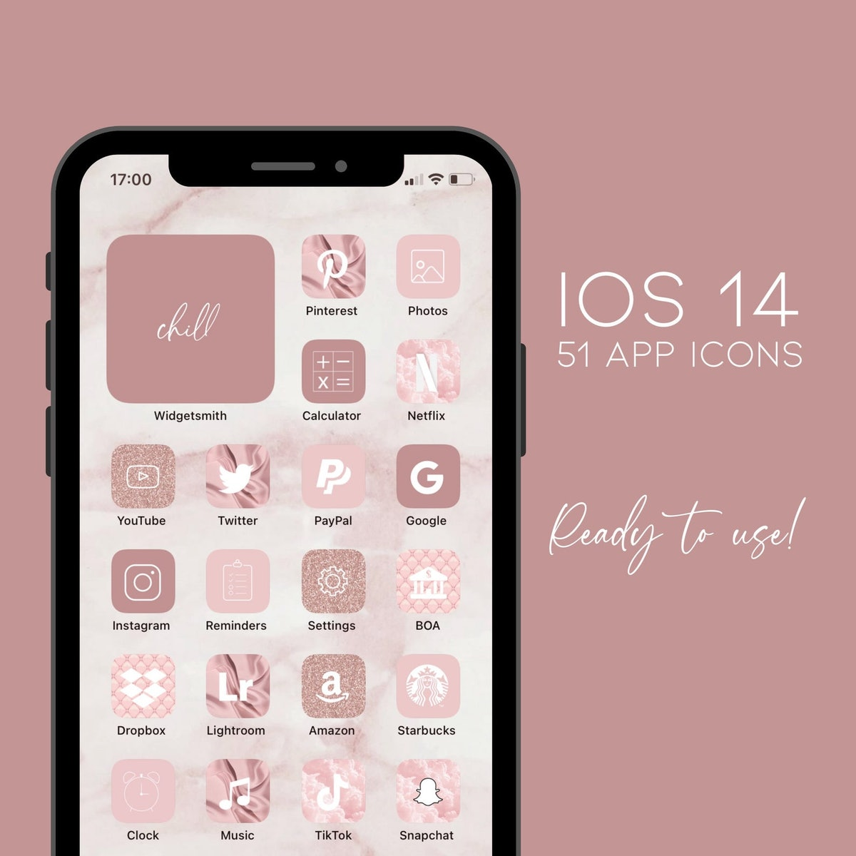 iOS 14 App Icons Pink & Glitter