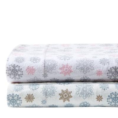 True North by Sleep Philosophy Flurries Flannel Sheet Set in Tan/Blue