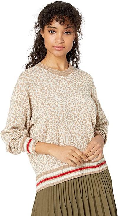Splendid Cashmere Blend Leopard Pullover Sweater