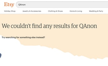 Screenshot of empty Etsy search results for QAnon