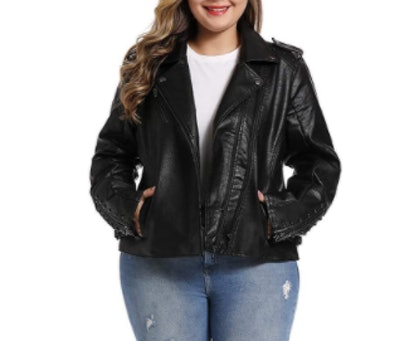 S P Y M Plus Size Faux Leather Moto Jacket