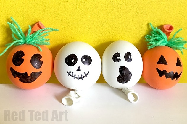 You can turn balloons into squishy pumpkins and ghosts.