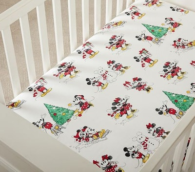 Disney Mickey Mouse Holiday Organic Fitted Crib Sheet