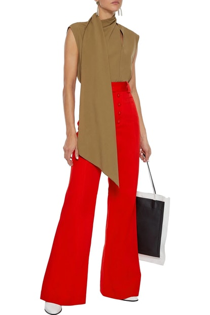 Cotton-twill flared pants