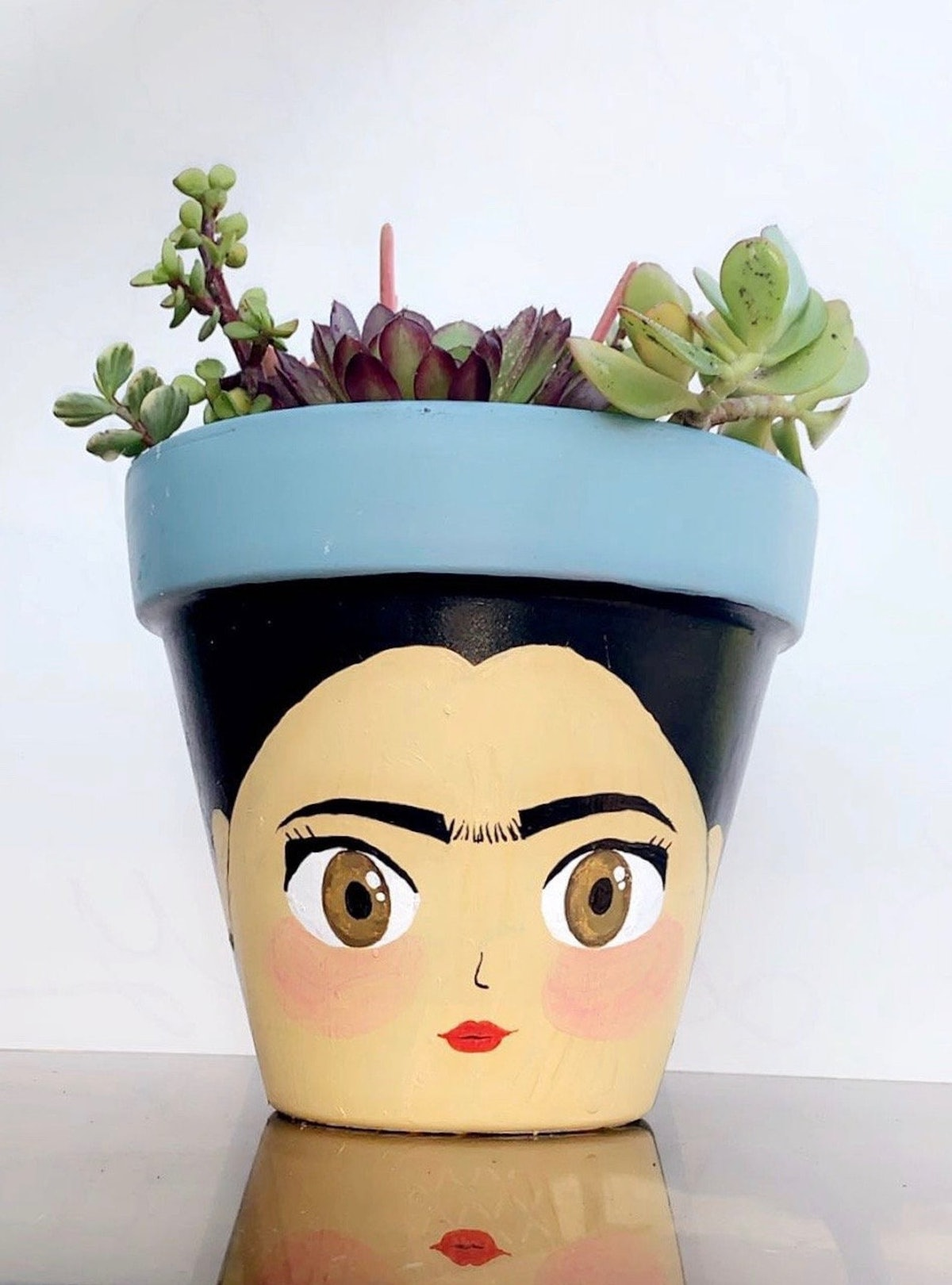 8-Inch Frida Kahlo Hand-Painted Pot