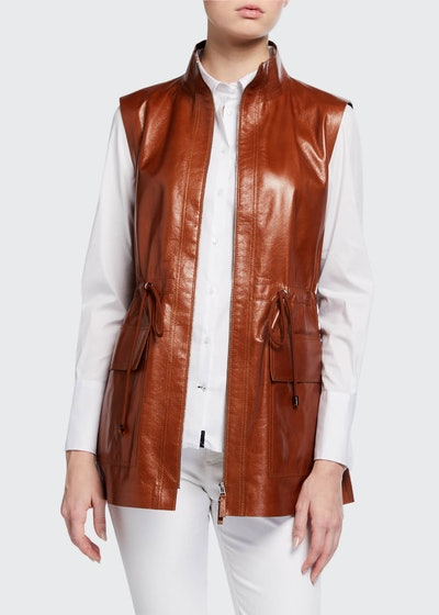 Zip-Front Lacquered Lambskin Vest