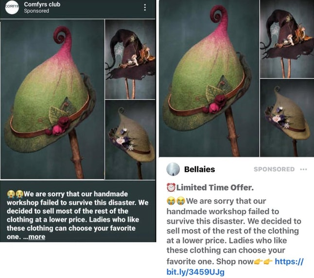 Suspicious advertisements on Instagram, left, and Facebook, right, with pandemic going-out-of-busine...